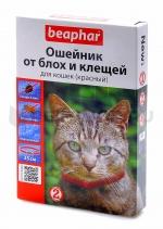 Беафар Ошейник для кошек от блох и клещей, красный, 35 см